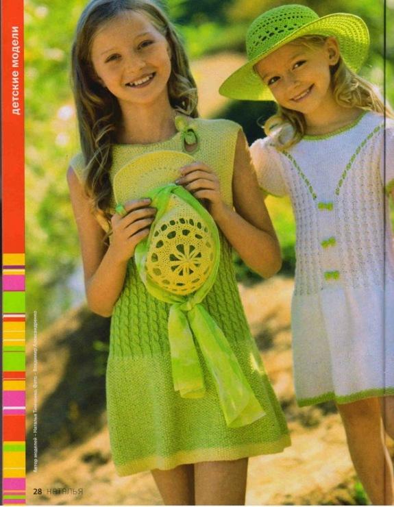 Летнее платье для девочки спицами