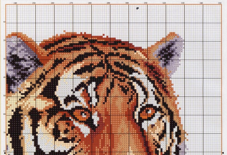 Вышивать крестиком тигра схемы