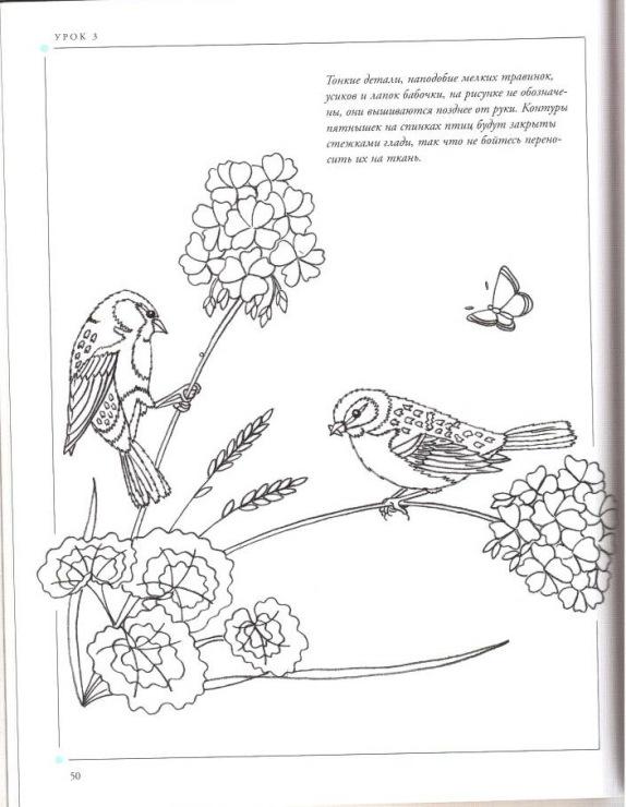 Вышивка гладью птицы схемы для начинающих 49