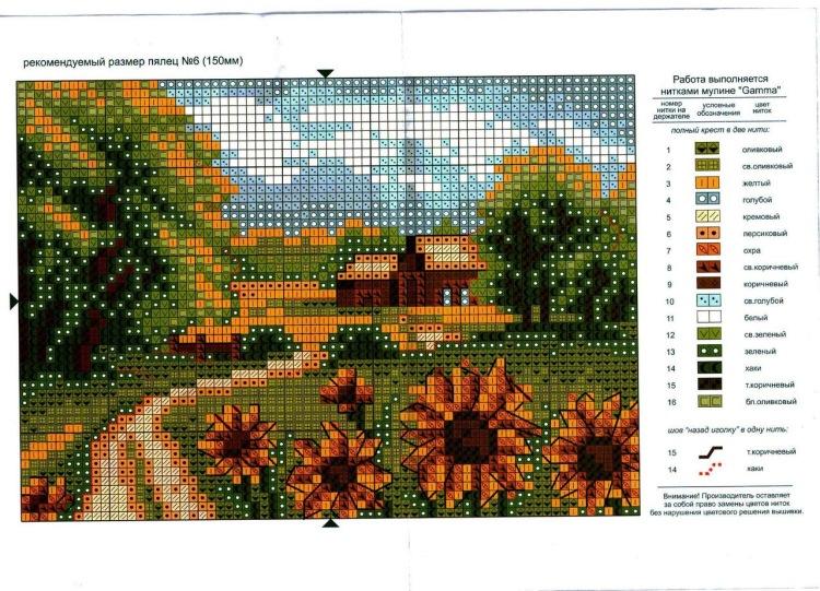 Схема вышивки крестом пейзажи домики