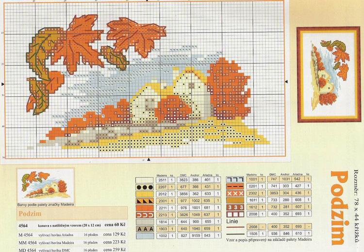 Вышивка крестом осень: подборка схем (фото)