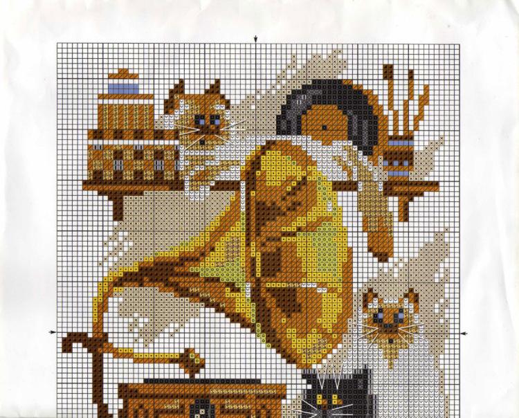 Схема вышивки риолис кот - выставка ваших работ.