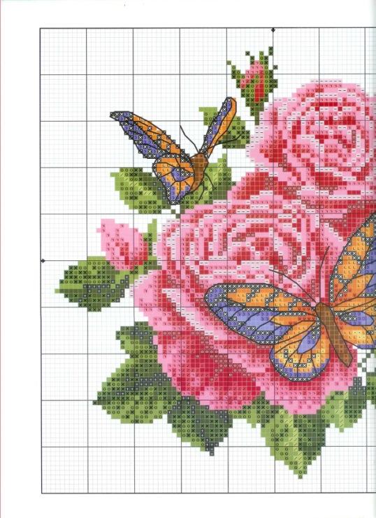 Вышивка роза и бабочка схема 9067