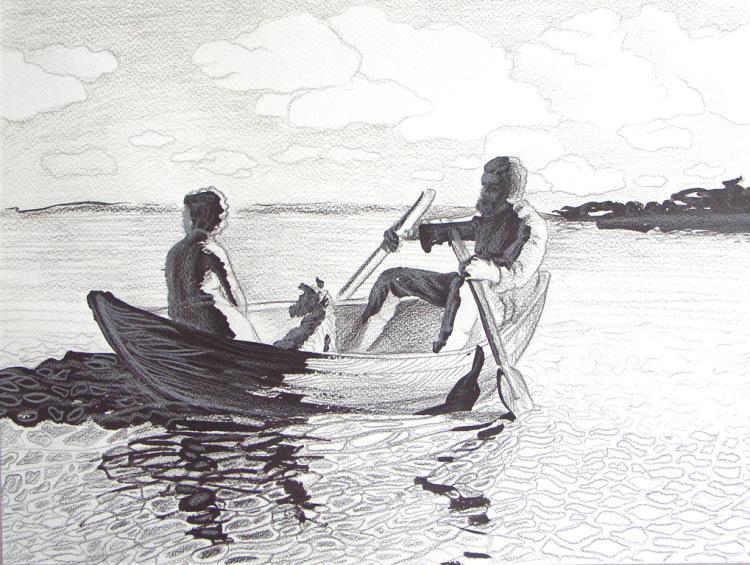 двое в лодке рисунок