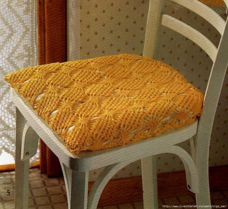 Накидки крючком на стулья своими руками 68