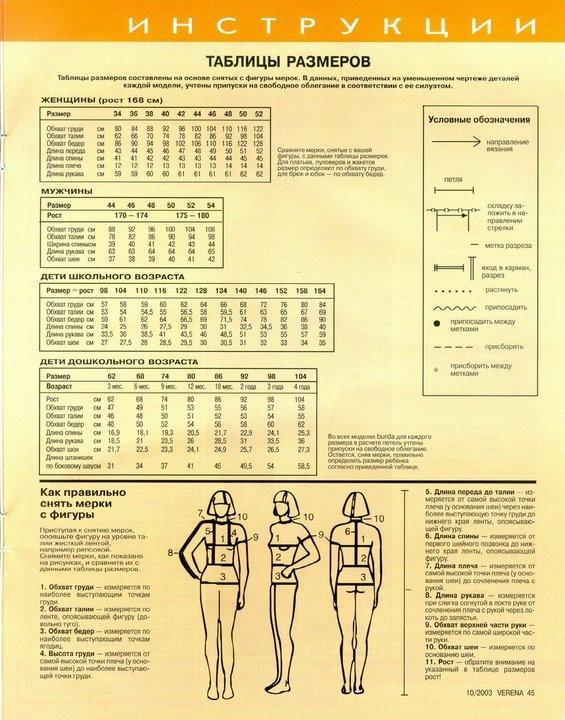 Размеры для вязания взрослых 264