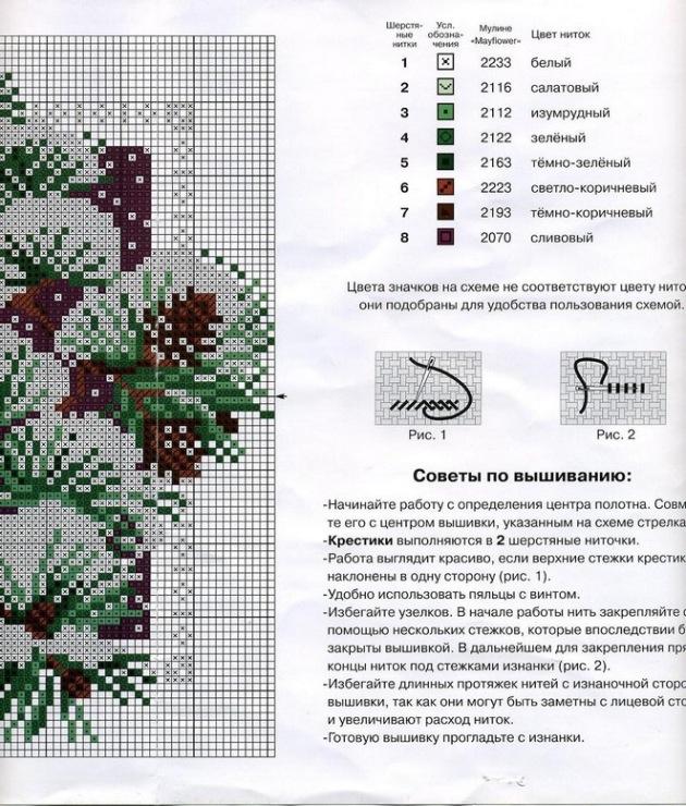 Схема вышивки крестом времена года риолис