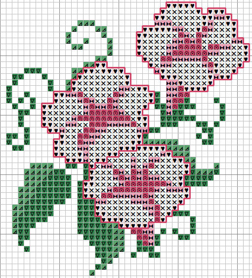 Как сшить крестиком цветок 61