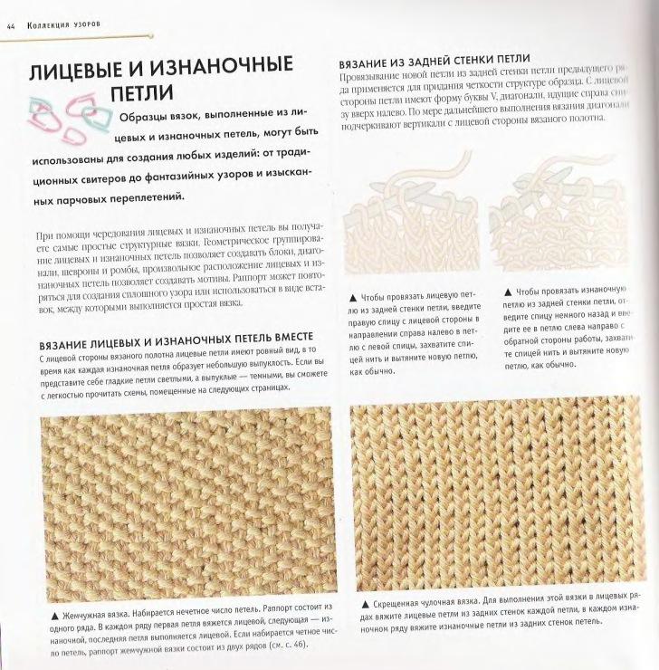 Вязание образцов лицевыми и изнаночными петлями