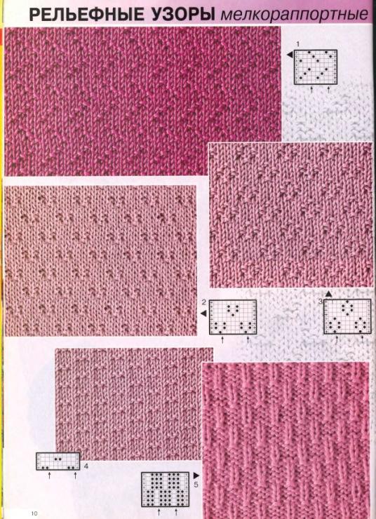 Простые рельефные узоры для вязания спицами с описанием