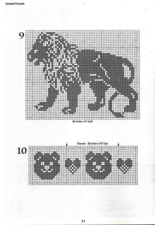 Схемы львов для вязания