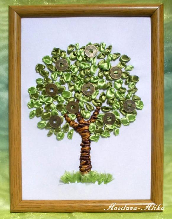 Вышивка дерева лентами 50