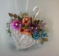 Вышивка лентами цветы в зонтике