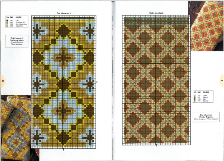 Схема вышивки крестом очечник 95