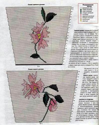 Схема цветов спицами на свитер