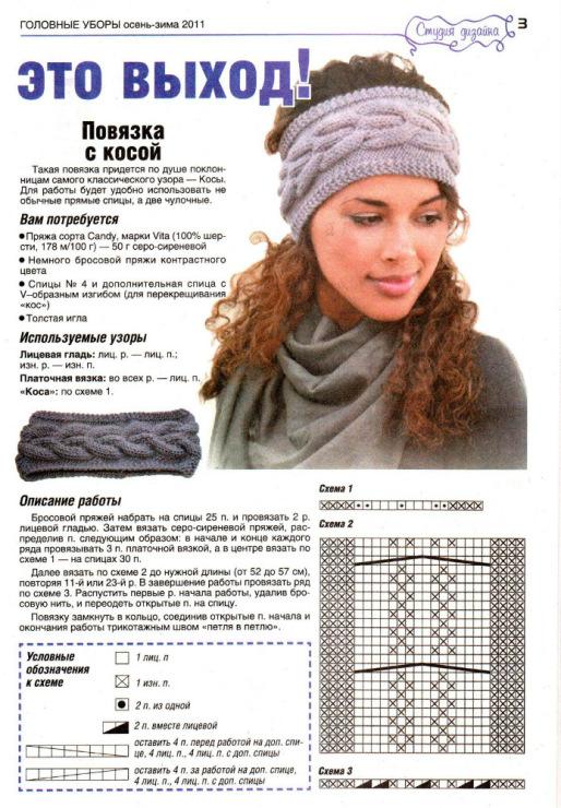 Повязка на голову схема для вязания