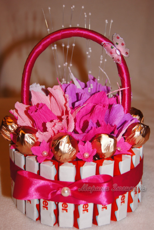 Подарок из конфет своими руками для девочек