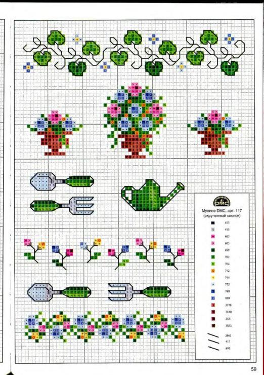 Маленькие схемы для вышивки крестом с цветами