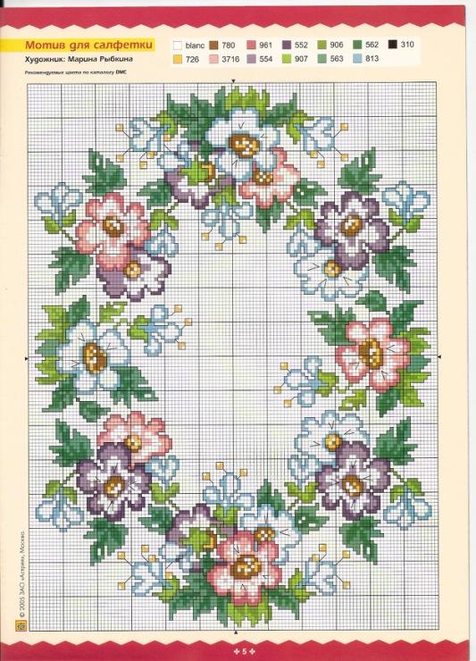 Схемы вышивок на скатерти 89