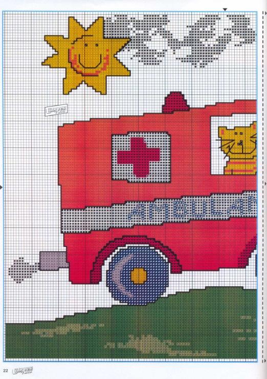 Вышивка крестом по пожарной машины